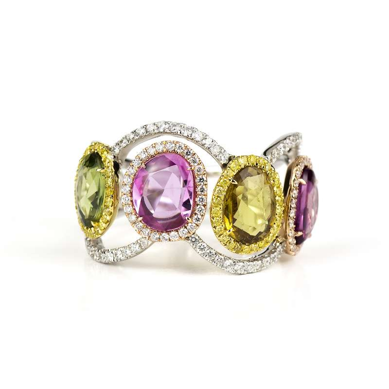 18k White Gold Diamond and Coloured Sapphire Dress Ring